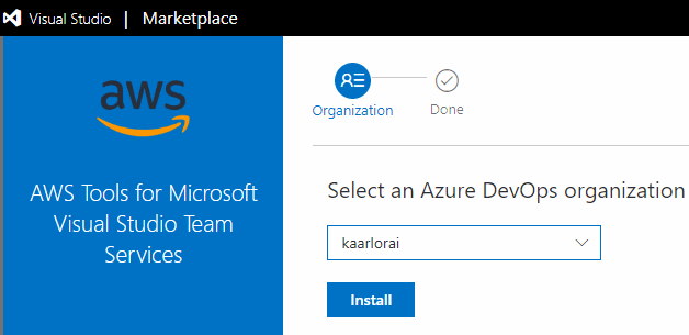 Azure DevOps ja Select an Azure DevOps organization