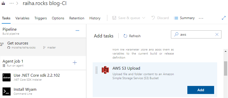 Azure DevOps ja AWS S3 Upload